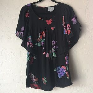 ☄️3/$25 Maeve Anthropologie Black Floral Blouse